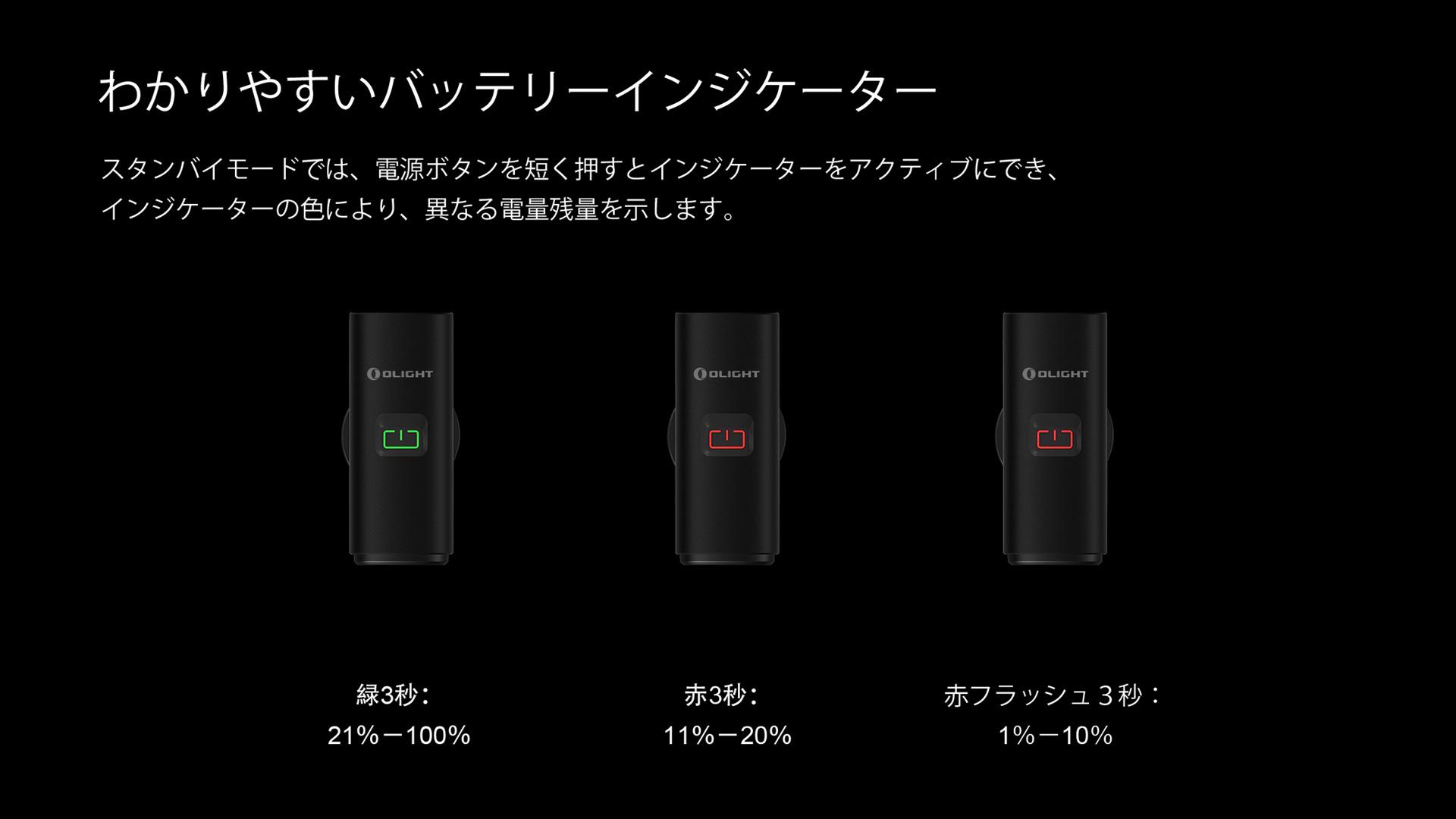 RN400には電源プロンプト機能があります。21%〜100%の場合、緑色で3秒間点灯します。11%〜20%の場合、赤色で3秒間点灯します。1%〜10%の場合、赤色で3秒間点滅します。